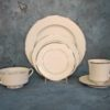 Ivory China Dinnerware With Silver Trim